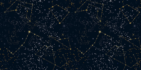 Starry night sky seamless pattern. Magic space print. Stars and constellations on a dark background. Cosmos texture, template for web design, Wallpaper, backdrops, covers, printing.... Vector.