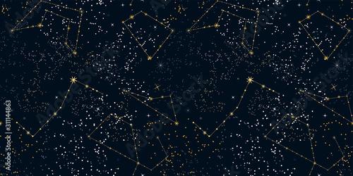 Cuadros en Lienzo Starry night sky seamless pattern