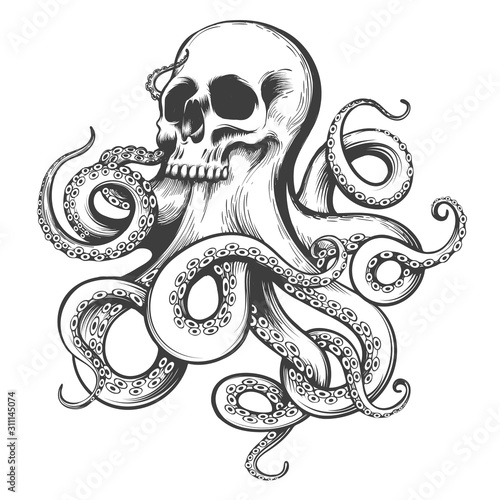 Платно Hand Drawn Tattoo of Skull with Octopus Tentacles