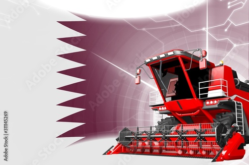 Digital industrial 3D illustration of red advanced rye combine harvester on Qata Canvas Print