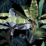 Tropical vintage night plants, palm trees, banana tree floral seamless pattern black background. Exotic jungle wallpaper.