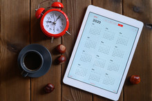 A Tablet With An Open Calendar...
