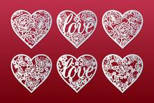 Laser Cut Hearts Set With Patt...