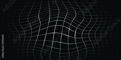 Abstract black and white striped grid background. Geometric pattern with the effect of visual distortion. Optical illusion. Op art