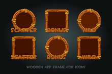 Set Wooden App Icons Old Frames On A Gray Background.