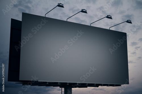 Fotografía  Blank Black billboard on night sky background.