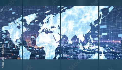 Fototapeta Contemporary interior with global business plan obraz
