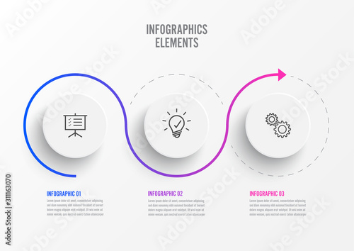Obraz Abstract elements of graph infographic template with label, integrated circles. Business concept with 3 options. For content, diagram, flowchart, steps, parts, timeline infographics, workflow layout. - fototapety do salonu