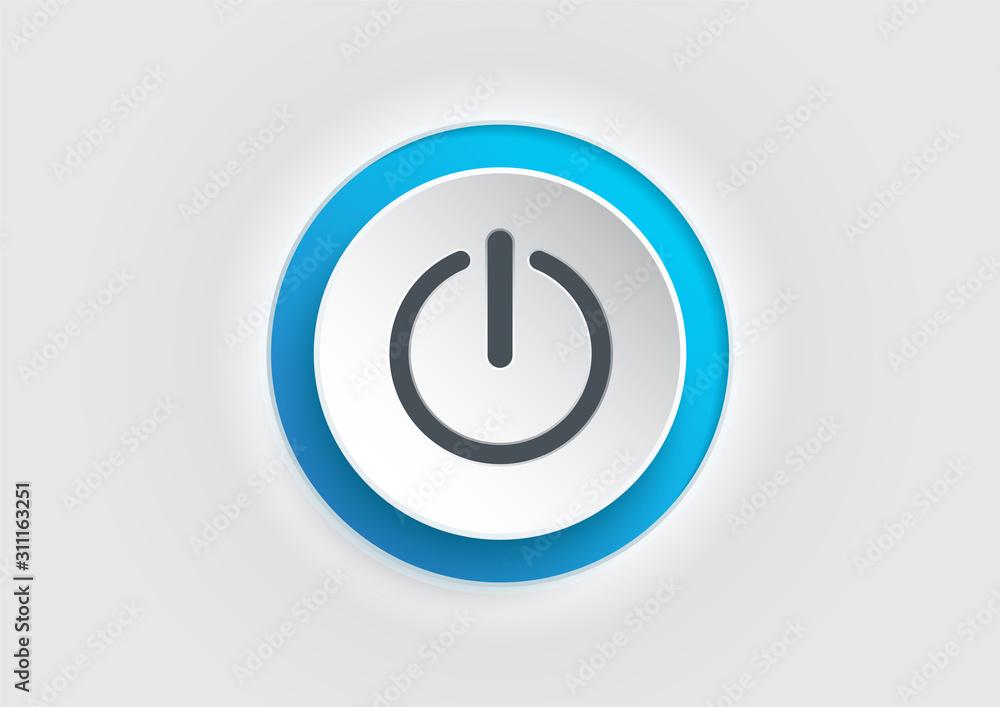 Fototapeta Blue power button icon on white background. illustrator vector.