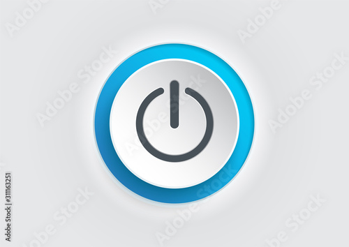 Fototapeta Blue power button icon on white background. illustrator vector. obraz