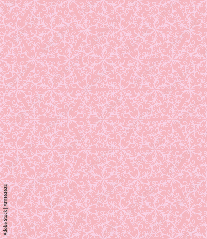 A seamless vector pattern with botanical damask ornament in pale pink colors. Romantic girly surface print design.