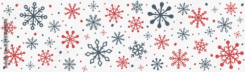 Fototapeta Banner with beautiful snowflakes. Christmas ornament. Vector obraz na płótnie
