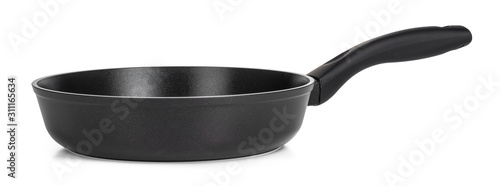 Stampa su Tela Black frying pan isolated on white background
