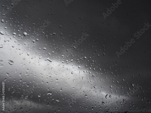 raindrops on gray storm day Wallpaper Mural