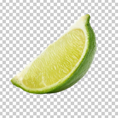 Sliced lime wedge isolated on checkered background including clipping path