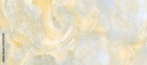 Polished onyx marble with high-resolution, ivory tone emperador marble, natural Canvas Print