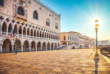 Venice Landmark At Dawn, Ducale Or Doge Palace. Italy