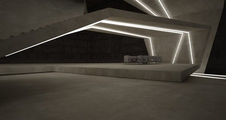 Abstract architectural concrete interior of a minimalist house with swimming pool and neon lighting. 3D illustration and rendering.