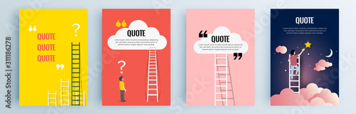 Obraz Quote frames blank templates set. Text in brackets, citation empty speech bubbles, quote bubbles. Textbox isolated on color background. Vector illustration. - fototapety do salonu