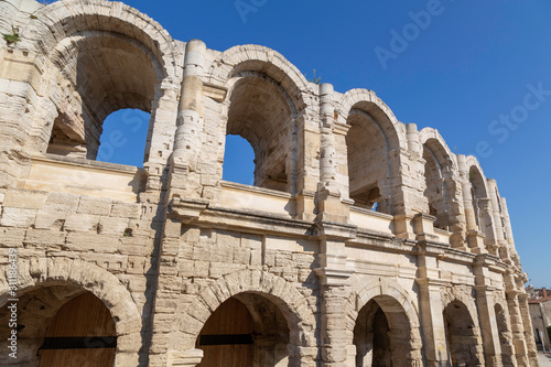 Arles Amphitheatre in France.  Ancient Roman arena in Provence. Canvas Print