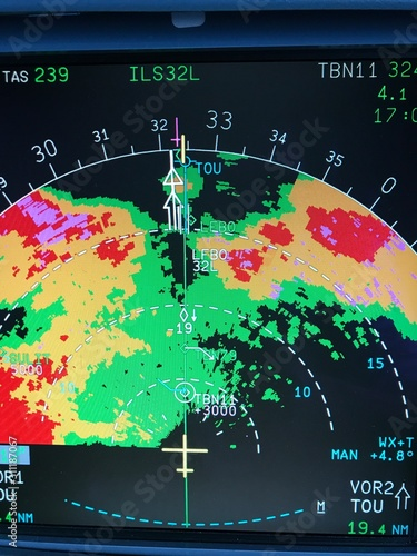 Airliner on board weather radar displaying weather returns landing during a stor Tablou Canvas