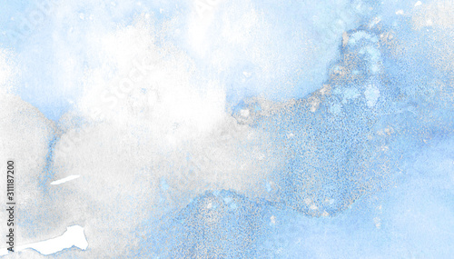 Photo Light sky blue shades color watercolor illustration, creative background, turquoise frame