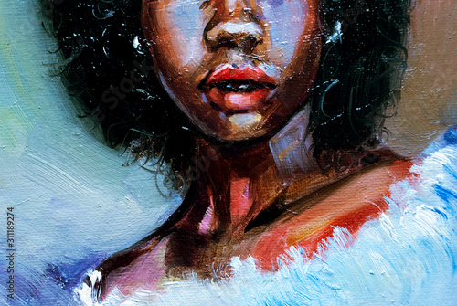 Beautiful black afro american woman with afro hair on green textured background, Canvas Print