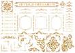 canvas print picture - Vintage ornament set. Metallic golden pattern.