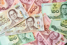 Close Up Image Of Thai Baht Cu...