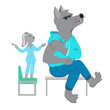 Colored vector illustration about vaccination in cartoon style on white background. Cute Doctor Hare with syringe, Wolf-patient. Funny characters for kids clinics, vaccination offices, medical centers