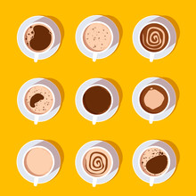Coffee Cups Top View Collection. Different Types Of Coffee. Menu Icons. Vector Flat