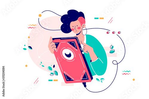 Fotomural  Girl using giant smartphone