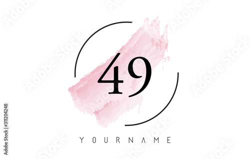 Stampa su Tela  Number 49 Watercolor Stroke Logo Design with Circular Brush Pattern