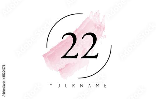 Tela  Number 22 Watercolor Stroke Logo Design with Circular Brush Pattern