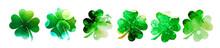 Set Of Watercolor Four-leaf Cl...