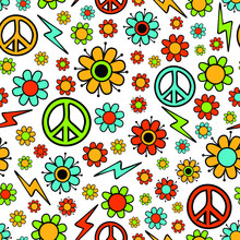 Seamless Vector Pattern With Flowers And Peace Symbol On White Background. Simple Retro Wallpaper Design. Colorful Childish Hippy Style.