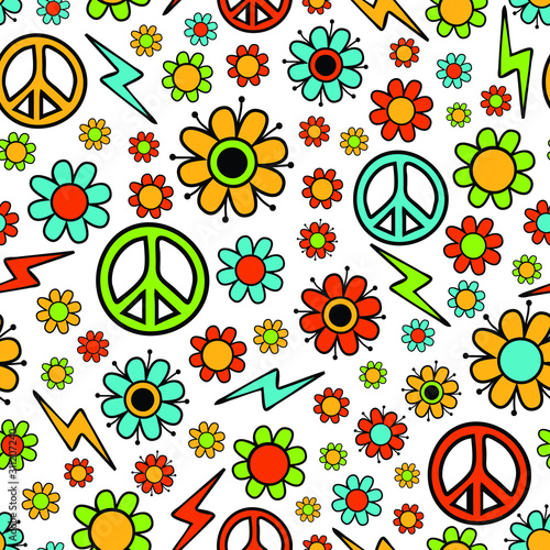 Fényképezés Seamless vector pattern with flowers and peace symbol on white background