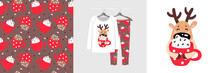 Seamless Christmas Pattern And Illustration For Kid With Deer Hugs Cup Of Cocoa