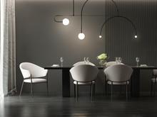 Dark Grey Dining Room With Minimal Hanging Lamp