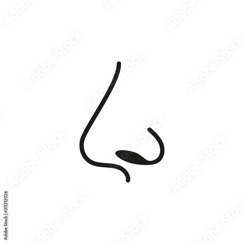 Icon of human nose with nostrils in profile Fototapete