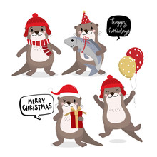 Cute Otter In Red Costume For Christmas Holidays And Gift. Animal Wildlife In Winter Cartoon Character Set. -Vector