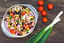 Vegetarian Salad With Red And Black Beans, Chickpeas And Corn In Glass Bowl. Healthy Vegan Food.