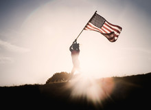 Female Silhouette With Flag