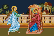 Annunciation To The Blessed Virgin Mary. Whole Illustration In Byzantine Style.