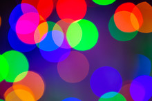 Close Up Of Unfocused Multicolored Lights. Unfocused Light Background. Blur Concept.