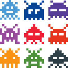 Pixelated Video Game Aliens Vector Icons