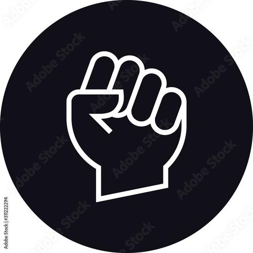 Photo Raised Fist Hand Gesture Outline Icon