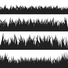 Black Grass Silhouettes Set Is...