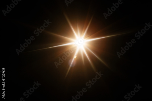 Obraz Easy to add lens flare effects for overlay designs or screen blending mode to make high-quality images. Abstract sun burst, digital flare, iridescent glare over black background. - fototapety do salonu