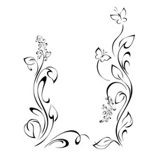 Frame 15. Decorative Frame With Stylized Flowers On Stems With Leaves, Butterflies And Vignettes In Black Lines On A White Background